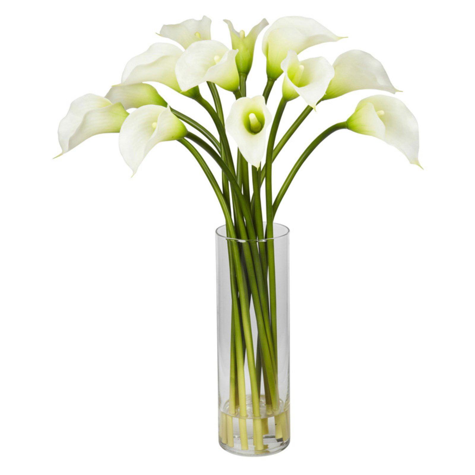 Nearly Natural Mini Calla Lily Silk Flower Arrangement, Yellow
