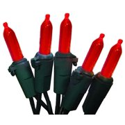 Set of 50 Red LED Mini Christmas Lights - Green Wire