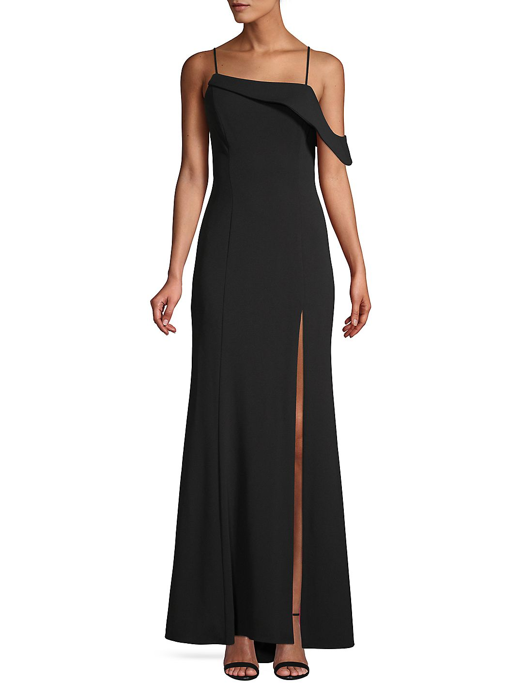 Spaghetti-Strap Off-Shoulder Slit Gown