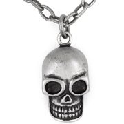 Antiqued Skull Pendant Necklace