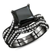 Noori Collection Noori 14k Black Gold 3 1/2ct TDW Certified Black Diamond Bridal Ring Set