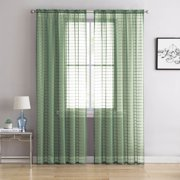 "Single (1) Sheer Rod Pocket Window Curtain Panel: 55"" W X 63"" L, Plaid/Check Design (Sage)"