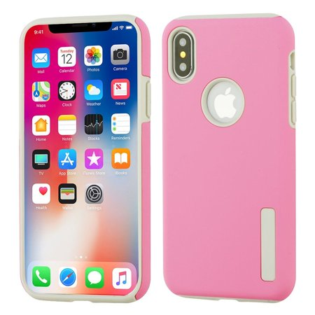 Insten Dual Layer [Shock Absorbing] Hybrid Hard Plastic/Soft TPU Rubber Case Cover For Apple iPhone X 10 2017, Pink/Gray (with Tempered Glass Privacy HD Anti Spy Screen Protector)