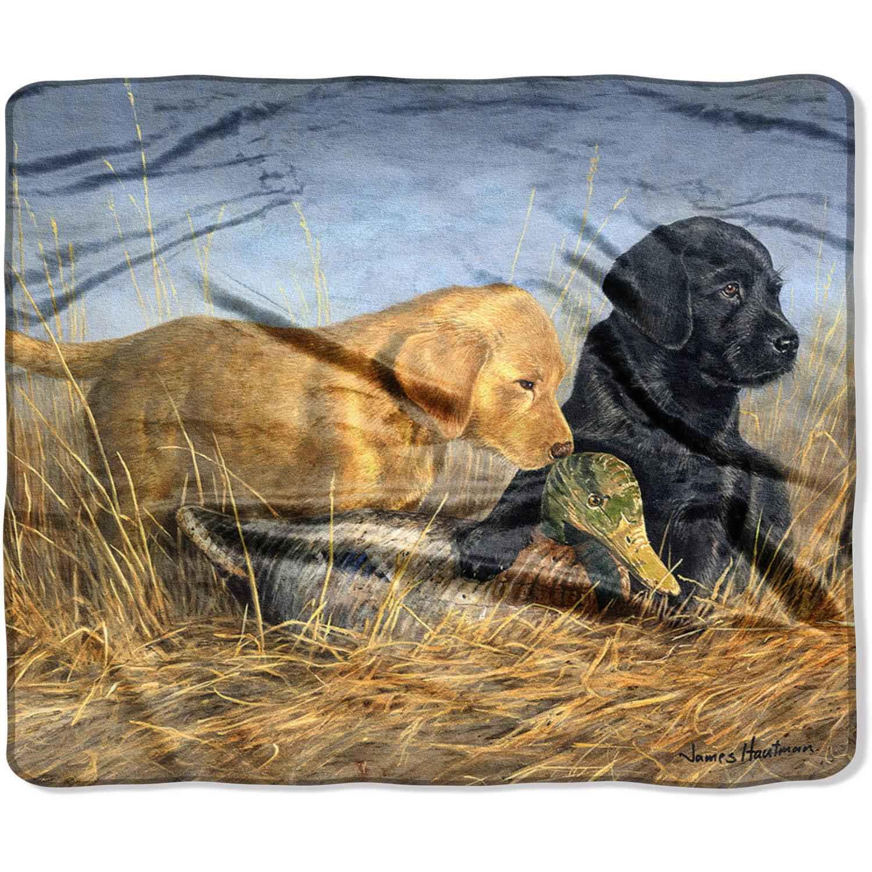 "Royal Plush Raschel Wilderness Puppies 50"" x 60"" Throw"