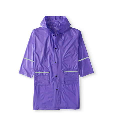 Girls' Long Hooded Rain Slicker Jacket