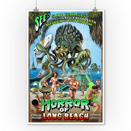 Long Beach, California - Alien Attack Horror - Lantern Press Poster (9x12 Art Print, Wall Decor Travel - Horror Decor
