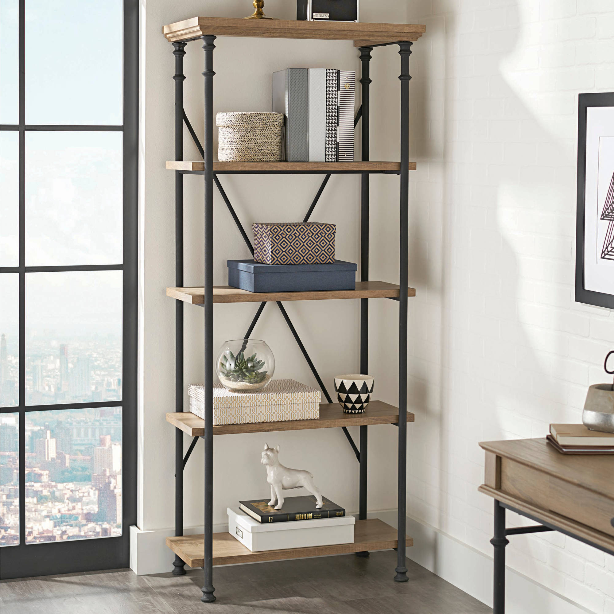 Better Homes and Gardens River Crest 5-Shelf Bookcase, Rustic Oak Finish
