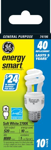 GE Lighting 74196 Energy Smart Spiral CFL 10-Watt 1-Pack 520-Lumen T3 Spiral Light Bulb with Medium Base 40-watt replacement