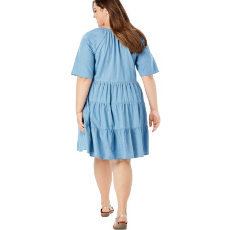 Woman Within Plus Size Cotton Tiered Trapeze Dress