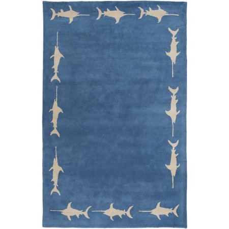 Cobalt 3 Light - 2' x 3' Marlin Fish Cobalt Blue and Light Gray Rectangular Wool Area Throw Rug