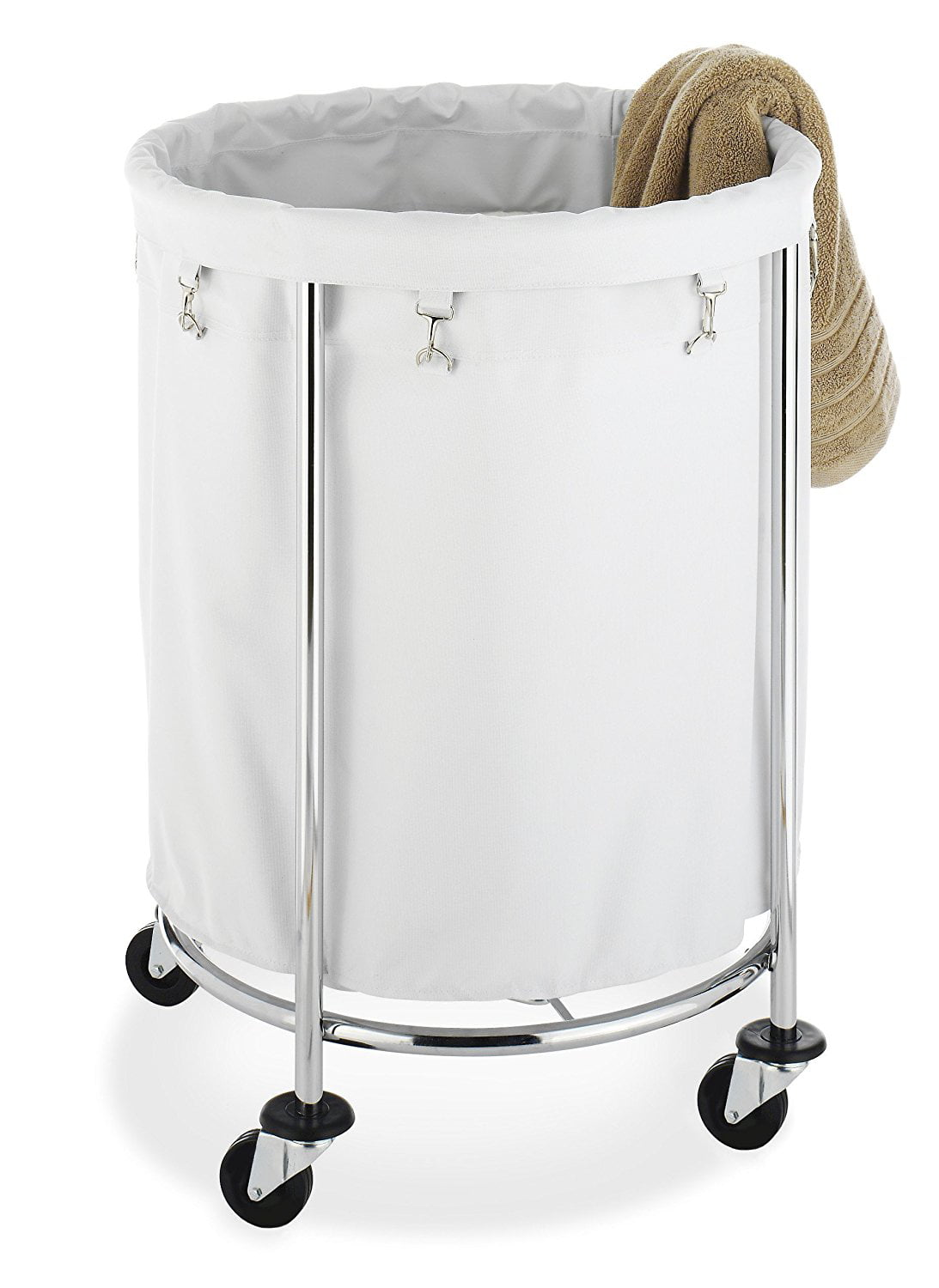 Whitmor Round Commercial Hamper with Wheels White & Chrome by Whitmor