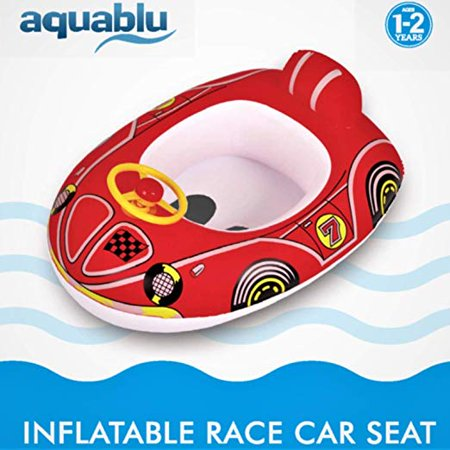 Aquablu Inflatable Race Car Cool Summertime Swim Seat & Float for Pool Beach Lake Bay & More Exciting Red Racer Steering (Pedal Racecar)