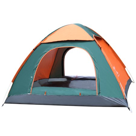 MIANBAOSHU Instant Pop Up Family Dome Tent for Camping Hiking Sun Shade 3 Person Orange and Green ()