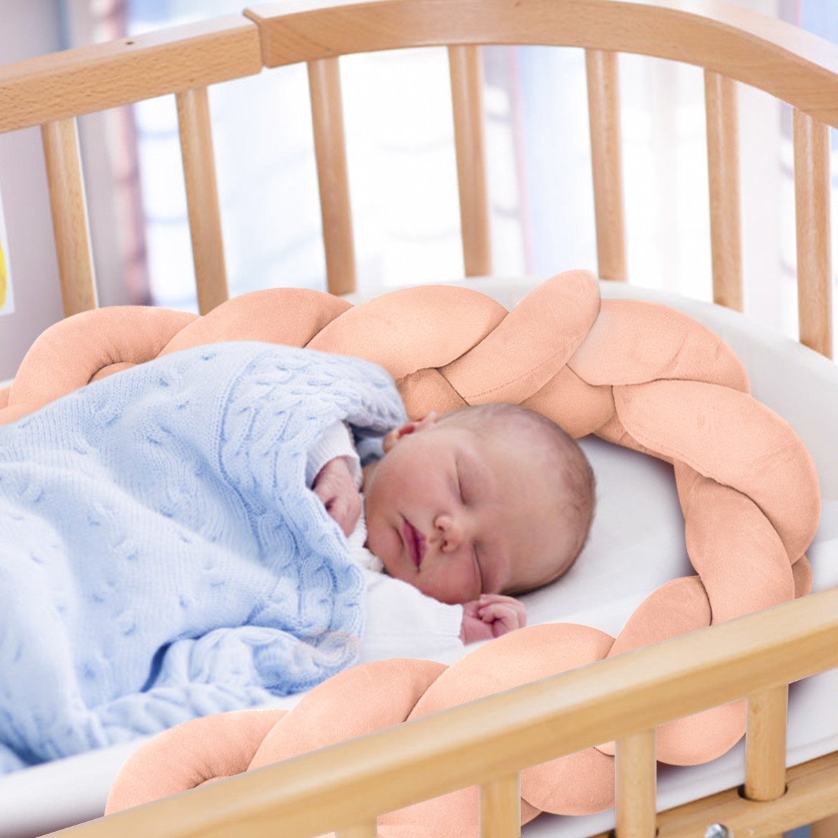New 100CM Baby Infant Plush Crib Bumper Bed Bedding Cot Braid Pillow Pad Protector