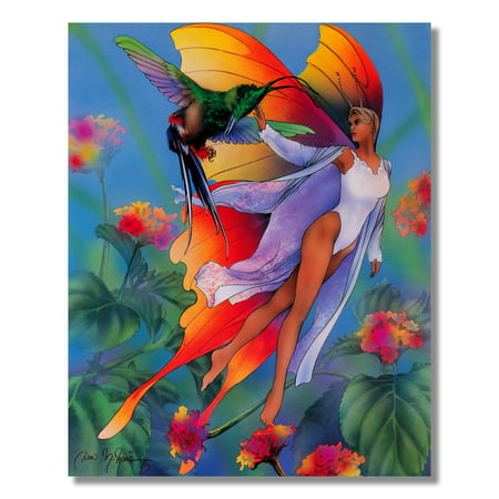 Lady Butterfly And Fairy Fantasy Wall Picture Art Print (Butterflies And Fairies)