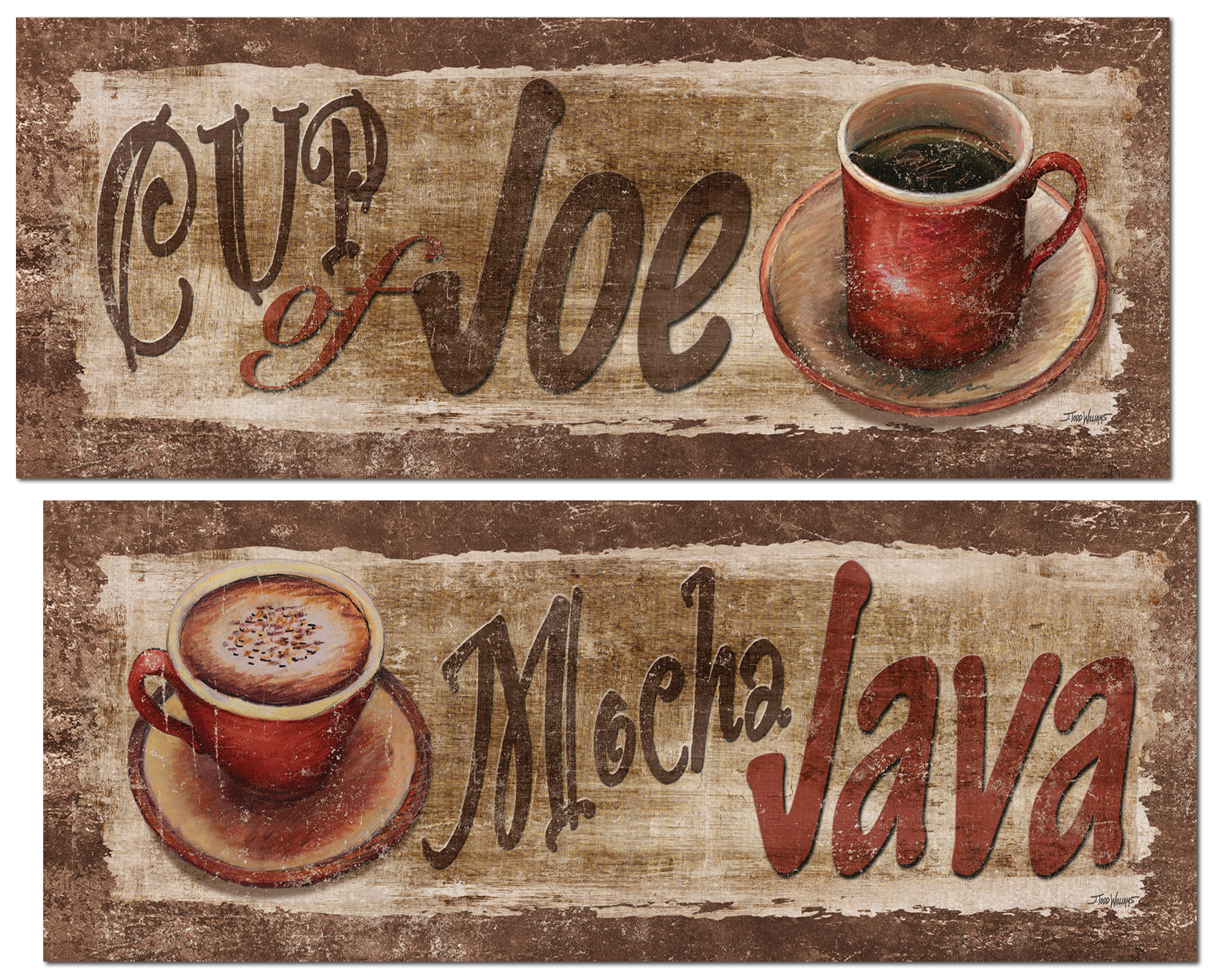 Popular Cup Of Joe and Mocha Java Signs; Kitchen Decor; Two 18x8in Poster  Prints. Teal/Brown
