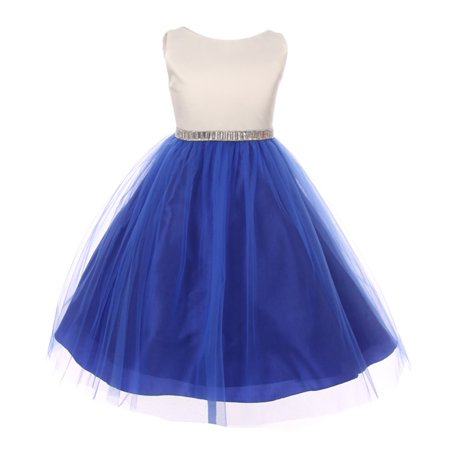 bfb3fa37d Shanil Inc. - Little Girls Royal Blue Shiny Sleeveless Tulle Overlay ...