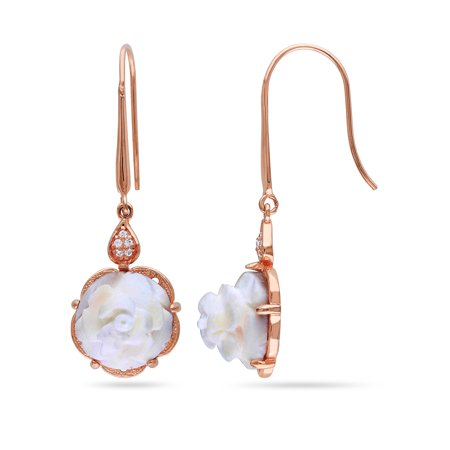 Miabella 3-1/10 Carat T.G.W. Cameo and Cubic Zirconia Rose Rhodium-Plated Sterling Silver Dangle Earrings
