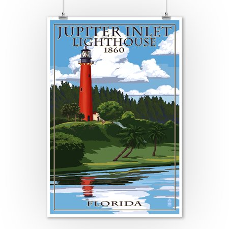 Jupiter Inlet Lighthouse - Jupiter, Florida - Jupiter Inlet Lighthouse - Lantern Press Artwork (9x12 Art Print, Wall Decor Travel Poster)