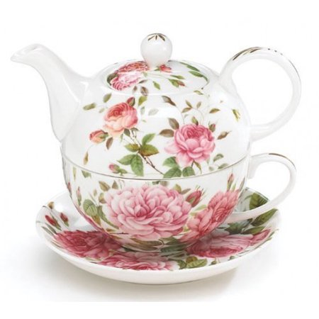 Porcelain Rose Teapot and Teacup For One (Royal Albert Rose Confetti Teapot)