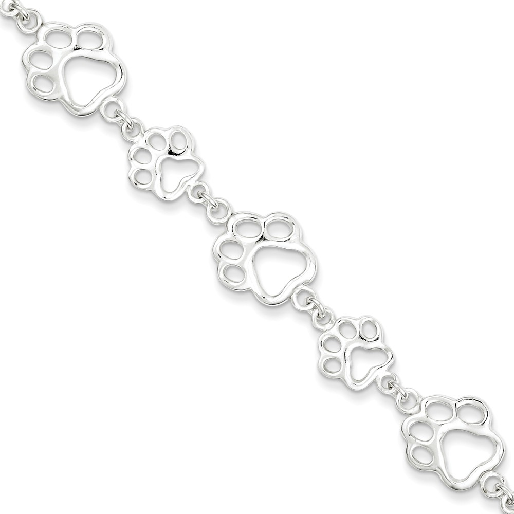 Sterling Silver 7.5in Polished Paw Print Bracelet