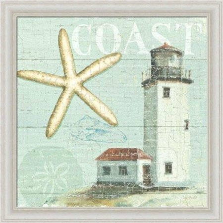 FRAMED Beach House II by Lisa Audit 12x12 Art Print Poster Cottage Coastal Shells Tide Surf Beach Lighthouse Sand Dollar - Lisa Frame