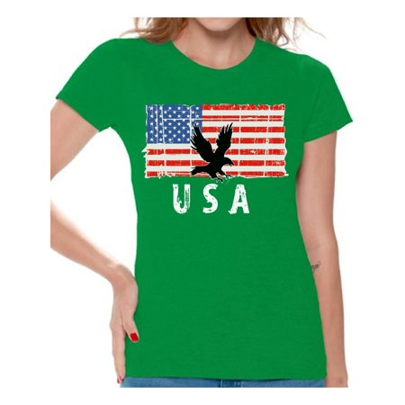 Ladies Eagle - Awkward Styles Eagle USA Women Shirt 51 States 4th of July Women T shirt Stripes and Stars USA Patriotic Tshirt for Women Love USA Retro USA Women T-shirt 4th of July Party