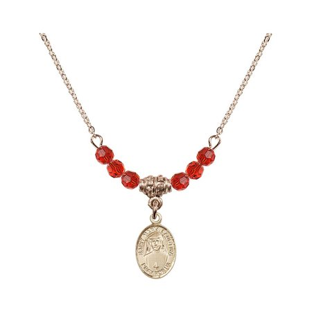 18-Inch Hamilton Gold Plated Necklace with 4mm Red July Birth Month Stone Beads and Saint Maria Faustina Charm ()