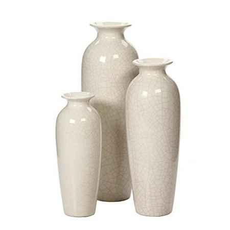Hosley's Set of 3 Crackle Ivory Ceramic Vases in Gift -