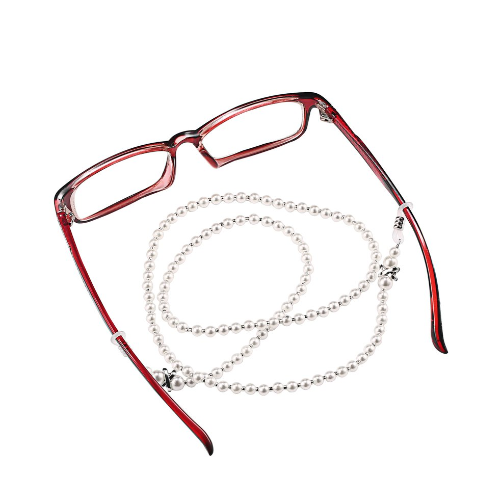 Holder Handcrafted Eyeglasses Beads Retainer Chain White /& Silver