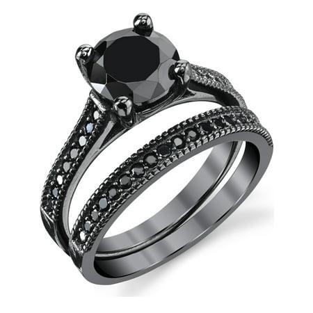 Black Sterling Silver 1.25 Carat Round Black Cubic Zirconia Engagement Wedding Ring Bridal Set