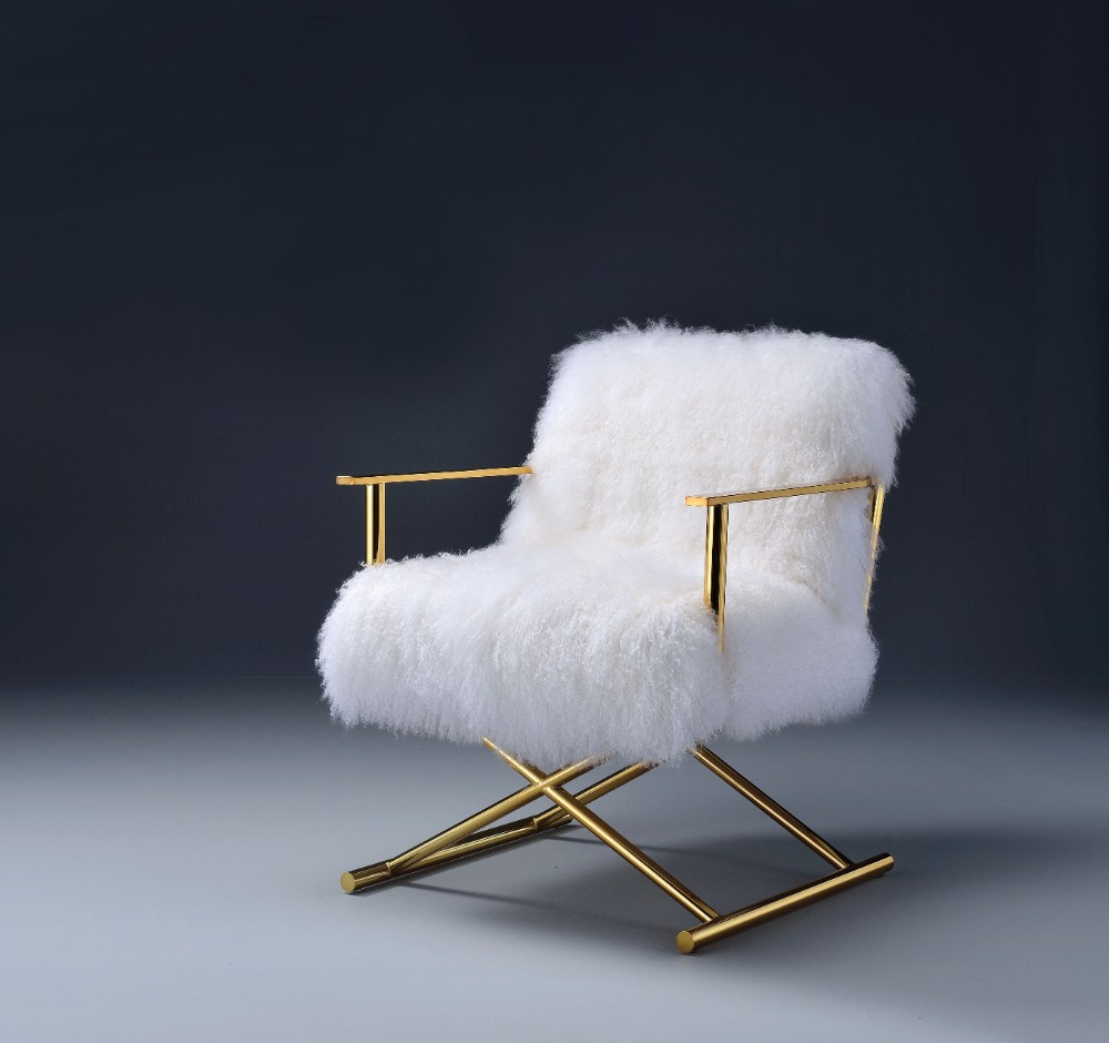 Bagley Accent Chair, Wool & Gold Brass