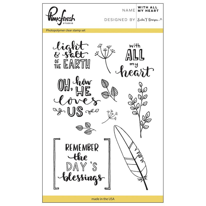 "Pinkfresh Studio Clear Stamp Set 4""x6""-with All My Heart"