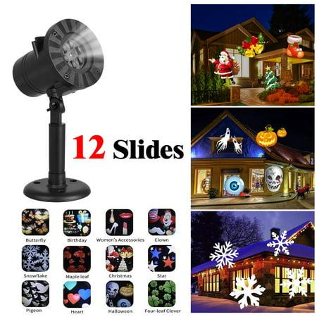 TSV Projector LED Lights, Rotating Snowfall Landscape Lights Indoor Night Light Waterproof Spotlight Decorative Lighting for Holiday Xmas Party, 12 Patterns ()