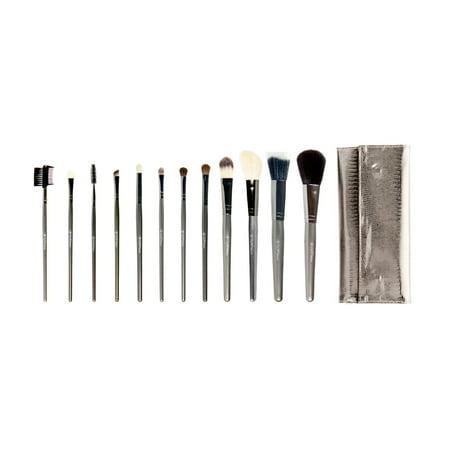 Crown Brush 12pc Professional Makeup Brush Set, Gunmetal (802) - Traditional Clown Makeup