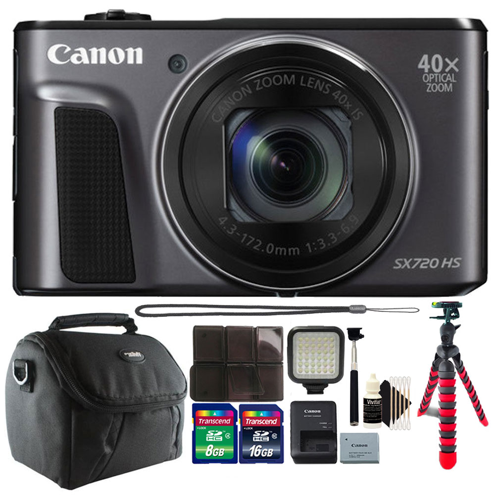 Canon PowerShot SX720 HS 20.3MP 40X Optical Zoom Wifi / NFC Enabled Digital Camera Black + 24GB Accessory Kit