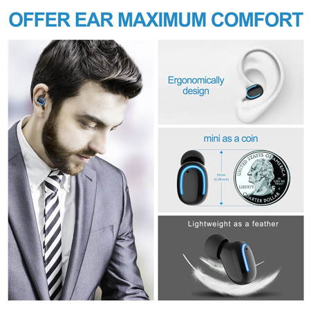 Stereo Music Headphone IPX5 Sweatproof Mini Wireless Headphone. 3D Sports Stereo Wireless Bluetooth Earbud with charging case. Upgrade bluetooth V5.0 In-Ear Headphone. - image 13 of 17