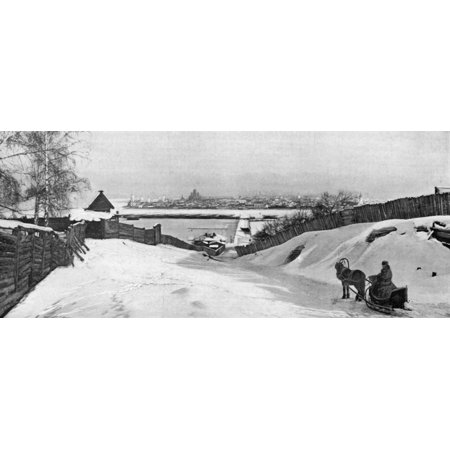 Russia Irkutsk C1897 Na Panoramic View Of Irkutsk Russia From The South Bank Of The Angara River Illustration After A Photograph C1897 Rolled Canvas Art     24 X 36