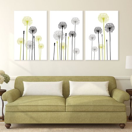 Hand Signed Giclee Canvas - wall26-3 Panel Canvas Wall Art - Hand Drawing Style Dandelions on White Background - Giclee Print Gallery Wrap Modern Home Decor Ready to Hang - 24