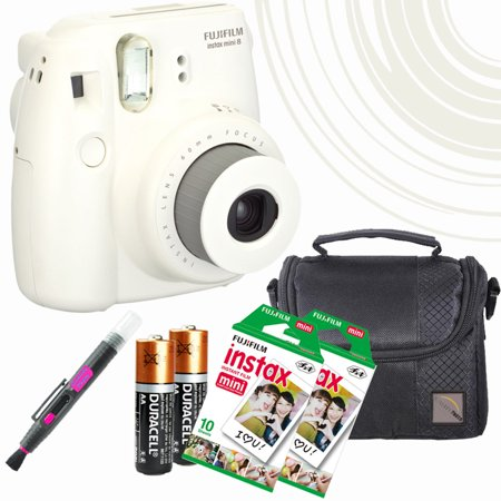 Mini 8 Instant Film Camera (White) - 20 Instant Film -quality photo Case - batteries - spray/brush pen