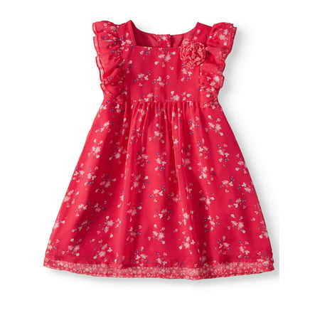 Wonder Nation Ruffle Sleeve Patterned Dress (Toddler Girls) - Dress Up A Girl