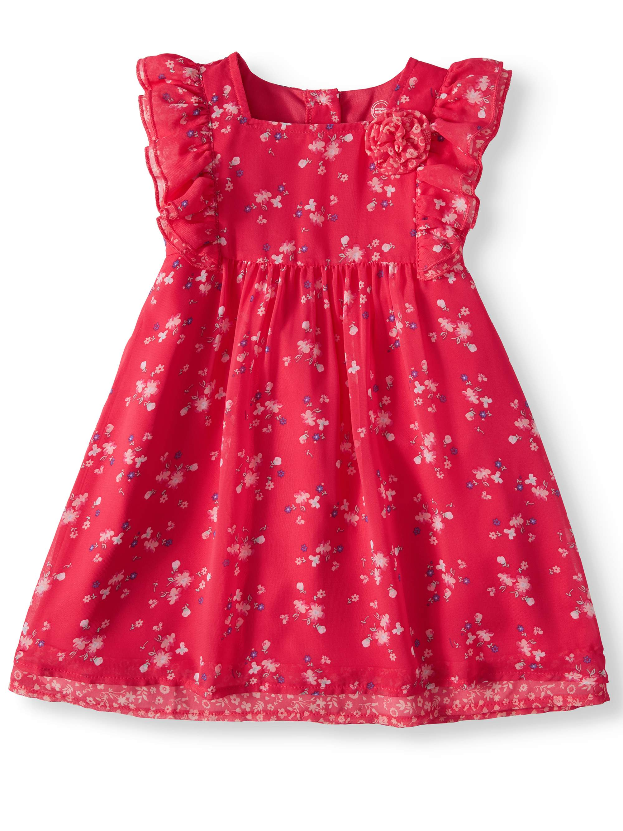 Ruffle Sleeve Patterned Dress (Toddler Girls)