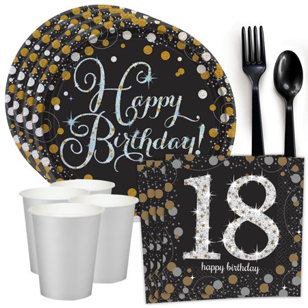 Sparkling Celebration 18th Birthday Standard Tableware Kit (Serves - 18th Birthday Theme