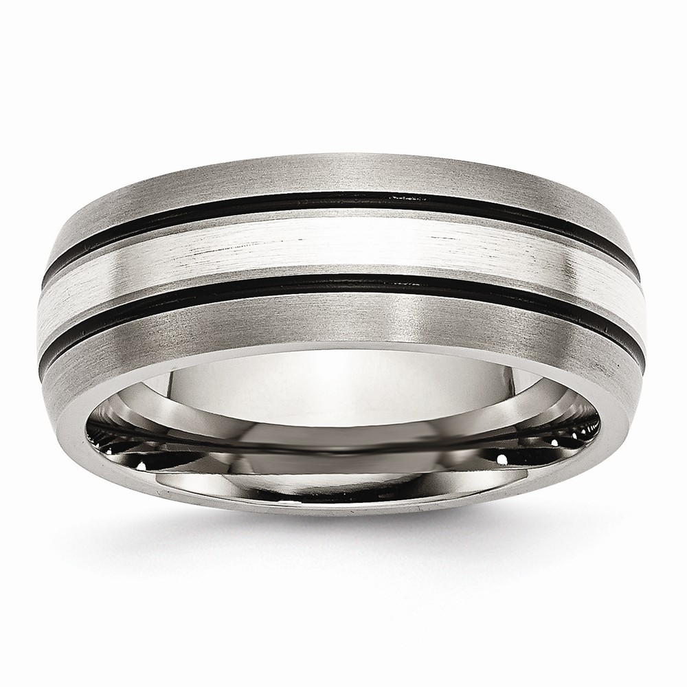 ICE CARATS Titanium Grooved 925 Sterling Silver Inlay 8mm Brushed/ Wedding Ring Band Size 10.50 Precious Metal Fine Jewelry Ideal Gifts For Women Gift Set From Heart