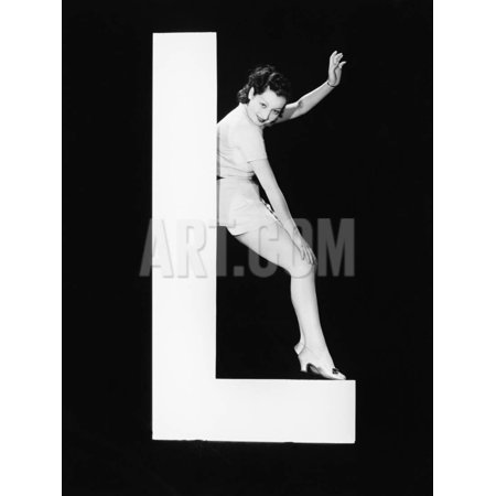 Woman with Huge Letter L Print Wall Art By Everett Collection