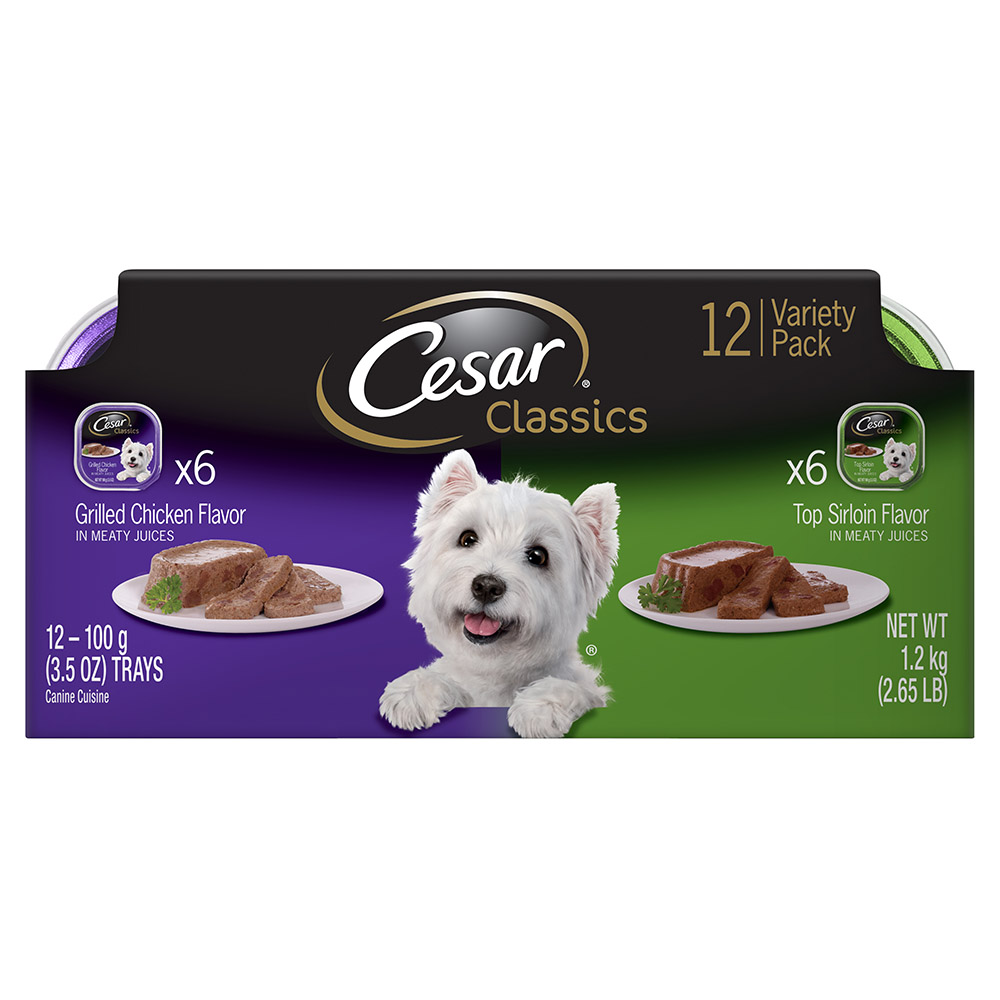 CESAR Canine Cuisine Variety Pack Top Sirloin & Grilled Chicken Flavor Dog Food (12 Count)