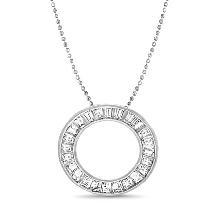 Inspired by You Baguette Channel Set Cubic Zirconia Circle Pendant on 24