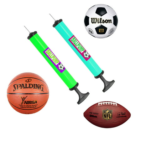 - Portable Hand Sports Air Pump W/ Pin Needle Basketball Football Soccer Cycling