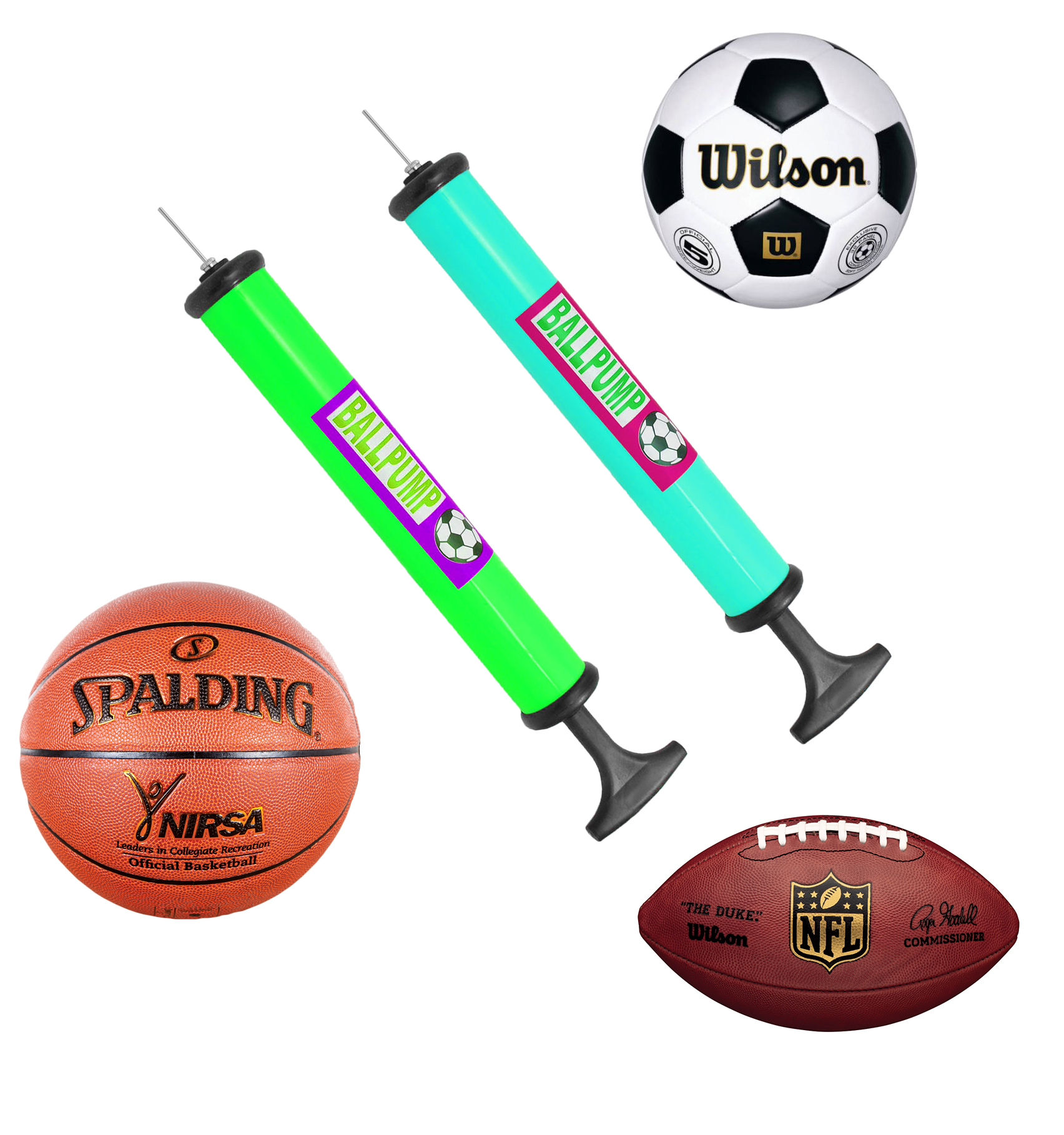 Portable Hand Sports Air Pump W/ Pin Needle Basketball Football Soccer Cycling