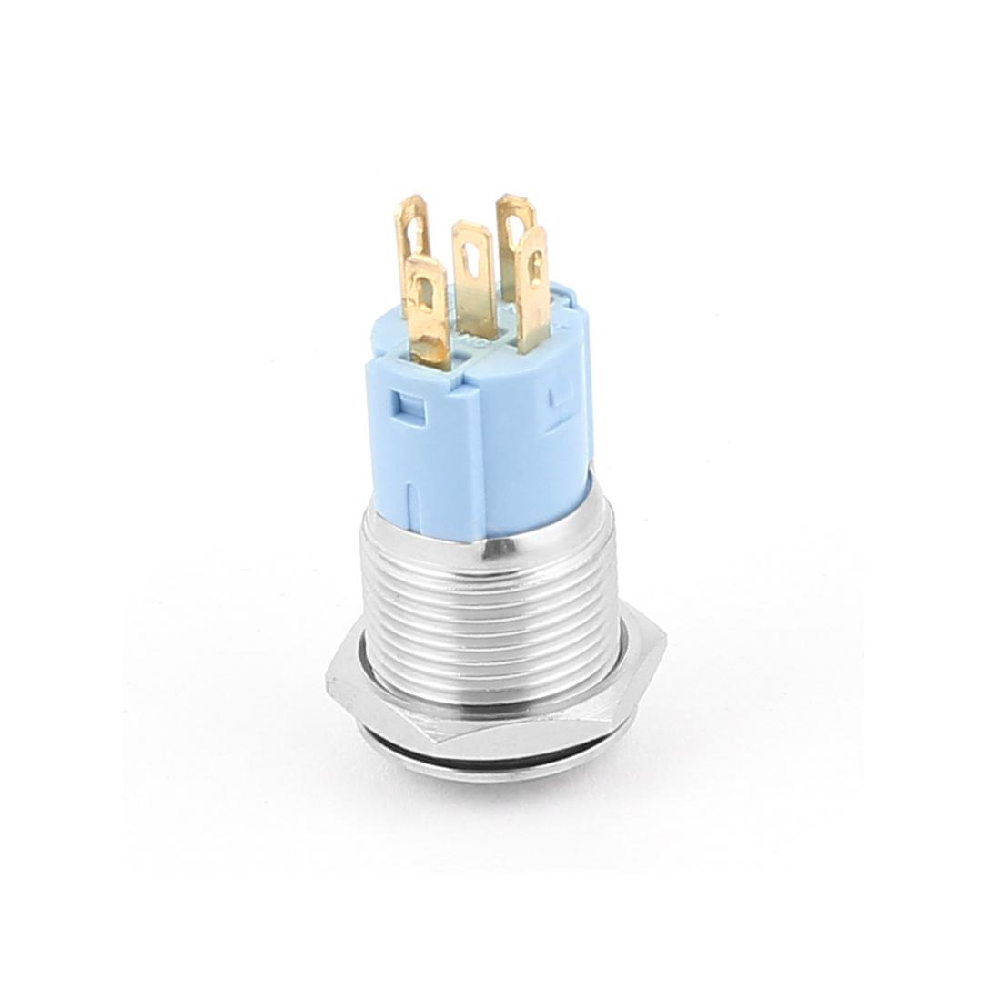 12V 16mm Vert Lampe LED Momentané Métal Commutateur De Bouton Poussoir élevée Couvercle - image 2 de 3